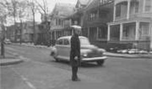 East Orange Police Original Photograph Taken in 1949 At The Intersection of North Grove St and 4th Ave. Policeman in Photo Is That of Officer Jack Owens Positively Identified By Former Resident Mr. Paul Schmitz.