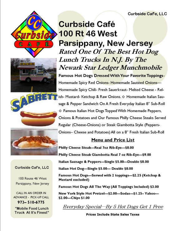 Curbside Cafe Menu & Price List - Revised 3-18-2013