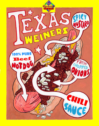 "Curbside Cafe's Famous Texas Weiners - Just ask for a ""Texas Weiner All The Way"""